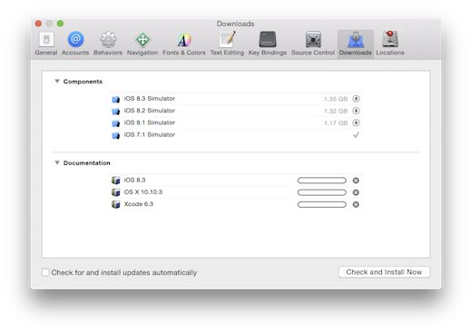 Xcode preferences downloads